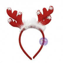 Băng đô cài tóc sừng tuần lộc Noel loại mỏng bằng vải nỉ
