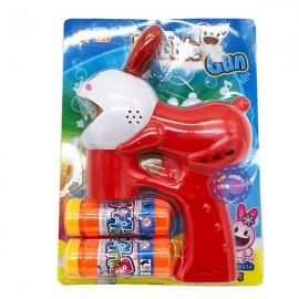 Vỉ đồ chơi súng thổi bong bóng xà phòng 2 bình dùng pin hình Thỏ