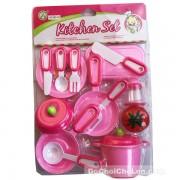 Vỉ đồ chơi nấu ăn Kitchen Set 3 nồi hồng