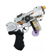 Đồ chơi súng máy ngắn ổ đạn xoay đèn Laser dùng pin có nhạc