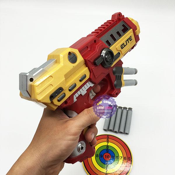 Hộp đồ chơi súng bắn đạn mút xốp mềm người sắt