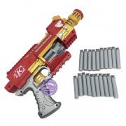 Hộp đồ chơi súng bắn đạn xốp tự động dùng pin người sắt