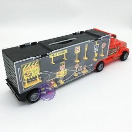 Hộp đồ chơi xe container chở xe ô tô con bằng sắt 10 chiếc