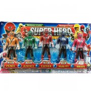 Vỉ đồ chơi 5 anh em siêu nhân thần kiếm Samurai mini & đao
