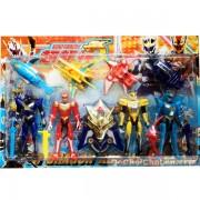Vỉ đồ chơi 4 anh em siêu nhân thiết giáp & 4 thú