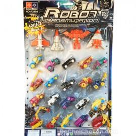 Vỉ đồ chơi lắp ráp xe & máy bay thành robot 25 con