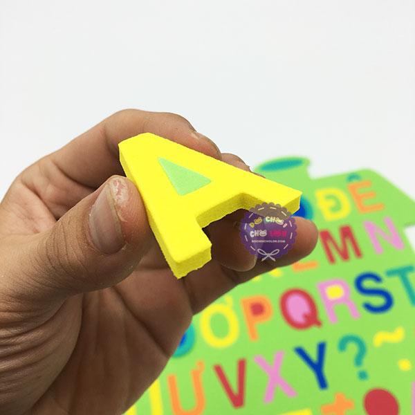 Đồ chơi bảng chữ số tập đánh vần và ráp chữ ngôi nhà bằng mút xốp