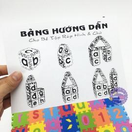 Đồ chơi bảng chữ số tập đánh vần và ráp chữ nút vuông bằng mút xốp