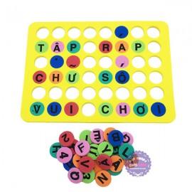 Đồ chơi bảng chữ số tập đánh vần và ráp chữ nút tròn bằng mút xốp