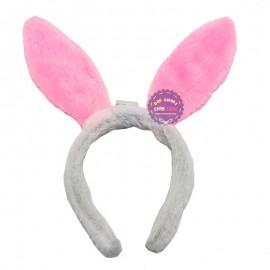Băng đô cài tóc tai thỏ Noel có đèn bằng bông mềm