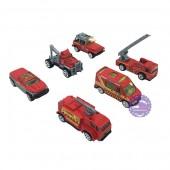 Hộp đồ chơi các loại xe cứu hỏa bằng sắt 6 chiếc Die-Cast