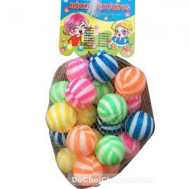 Đồ chơi banh nhựa sọc nhiều màu 20 trái túi lưới (5cm)