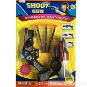 Vỉ đồ chơi súng siêu nhân Deka bắn đạn nhựa hít tường