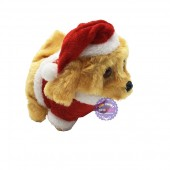 Đồ chơi chú chó lông xù Noel biết đi và sủa dùng pin có đèn