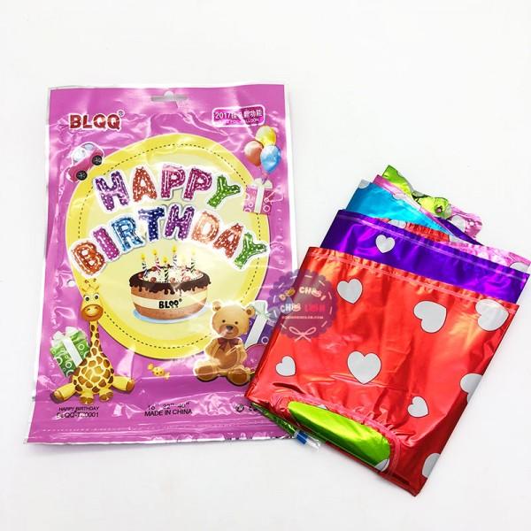 Bộ bóng bay sinh nhật 13 chữ Happy Birthday 10 màu