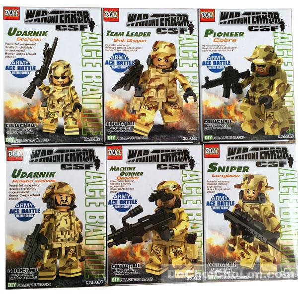 Bộ 6 hộp đồ chơi lắp ráp Doll lính đặc công chống khủng bố