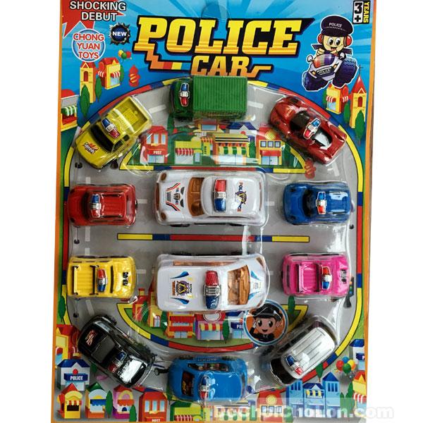 Vỉ đồ chơi 12 xe cảnh sát Police Car chạy trớn