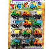 Vỉ đồ chơi 12 xe công trình Funny Truck chạy trớn
