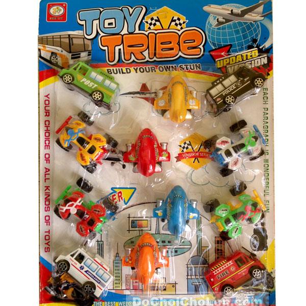 Vỉ đồ chơi 12 xe máy bay Toy Tribe 181H chạy trớn