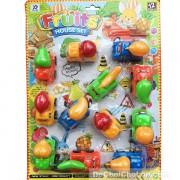 Vỉ đồ chơi xe chở trái cây 12 chiếc chạy trớn