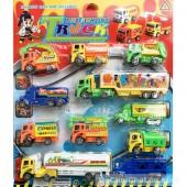 Vỉ đồ chơi 11 xe tải vận chuyển hàng hóa chạy trớn