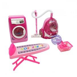 Hộp đồ chơi nhà bếp: máy giặt, bàn ủi, máy hút bụi, móc phơi dùng pin
