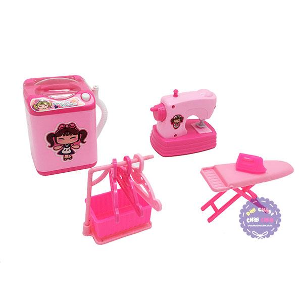 Hộp đồ chơi nhà bếp: máy may, bàn ủi, máy giặt, xào phơi dùng pin