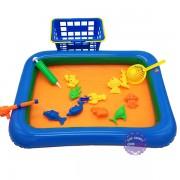 Đồ chơi phao câu cá nam châm dưới nước 1 cần 10 cá & rổ