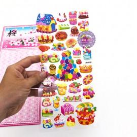 Hình dán sticker nổi 3D hình bánh sinh nhật